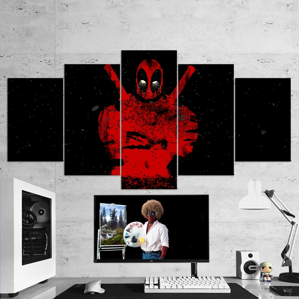 Deadpool 02 – 5 Piece Canvas Wall Art Gaming Canvas – Game Wall Art Throughout Preferred Five Piece Canvas Wall Art (View 13 of 15)