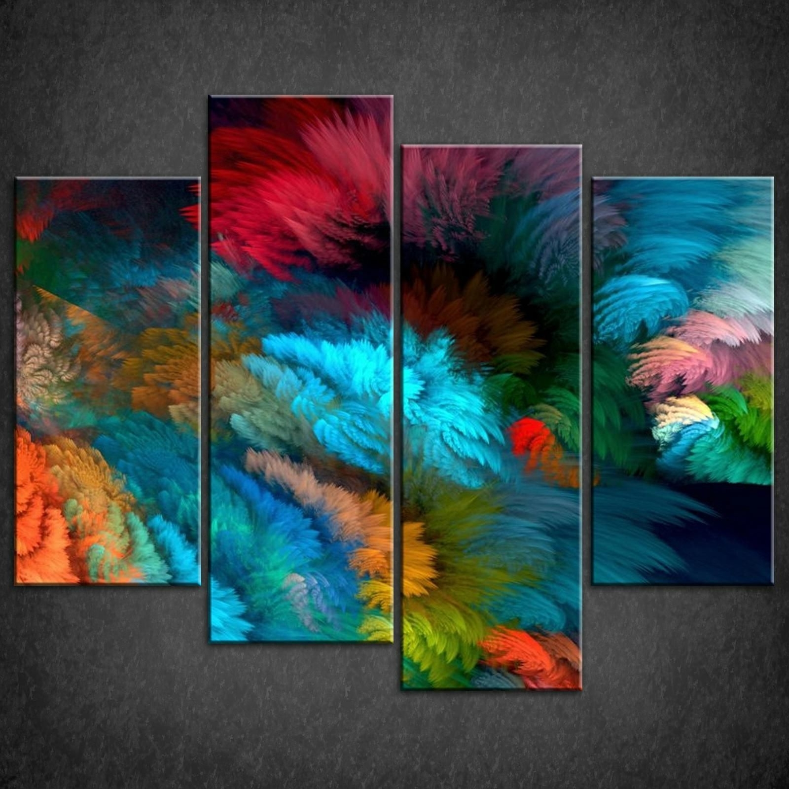 Decor: Large Abstract Colourful Split Canvas Wall Art Pictures Prints Intended For Favorite Large Framed Canvas Wall Art (View 4 of 15)
