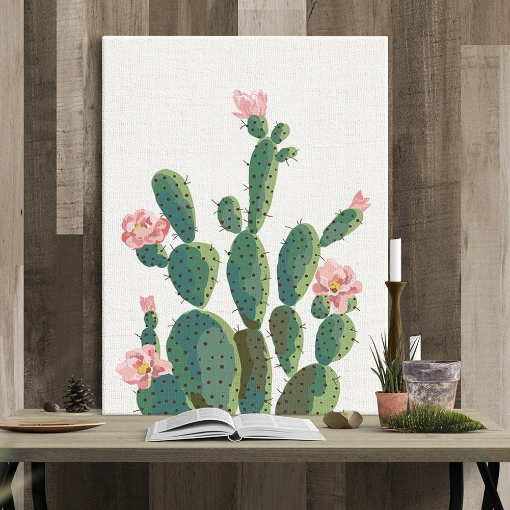 Decorative Wall Art In Latest Phoenix: Green Plant Cactus Decorative Wall Art Painting Sofa (View 9 of 15)