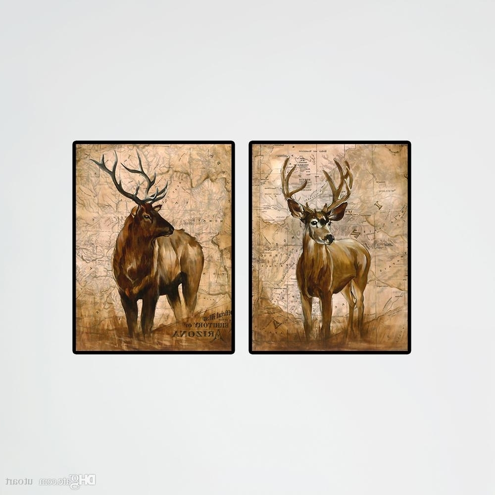 Deer Canvas Wall Art Regarding Most Up To Date Modern Deer Real Animal Pictures Elk Oil Printing Canvas Paintnecor (View 10 of 15)