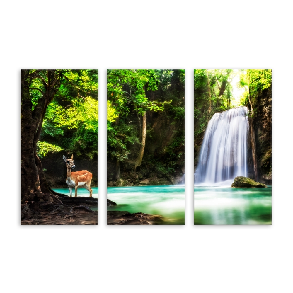 Deer Canvas Wall Art Regarding Preferred Modern Deer Canvas Painting Animal Stangding The Waterfall In Forest (View 4 of 15)