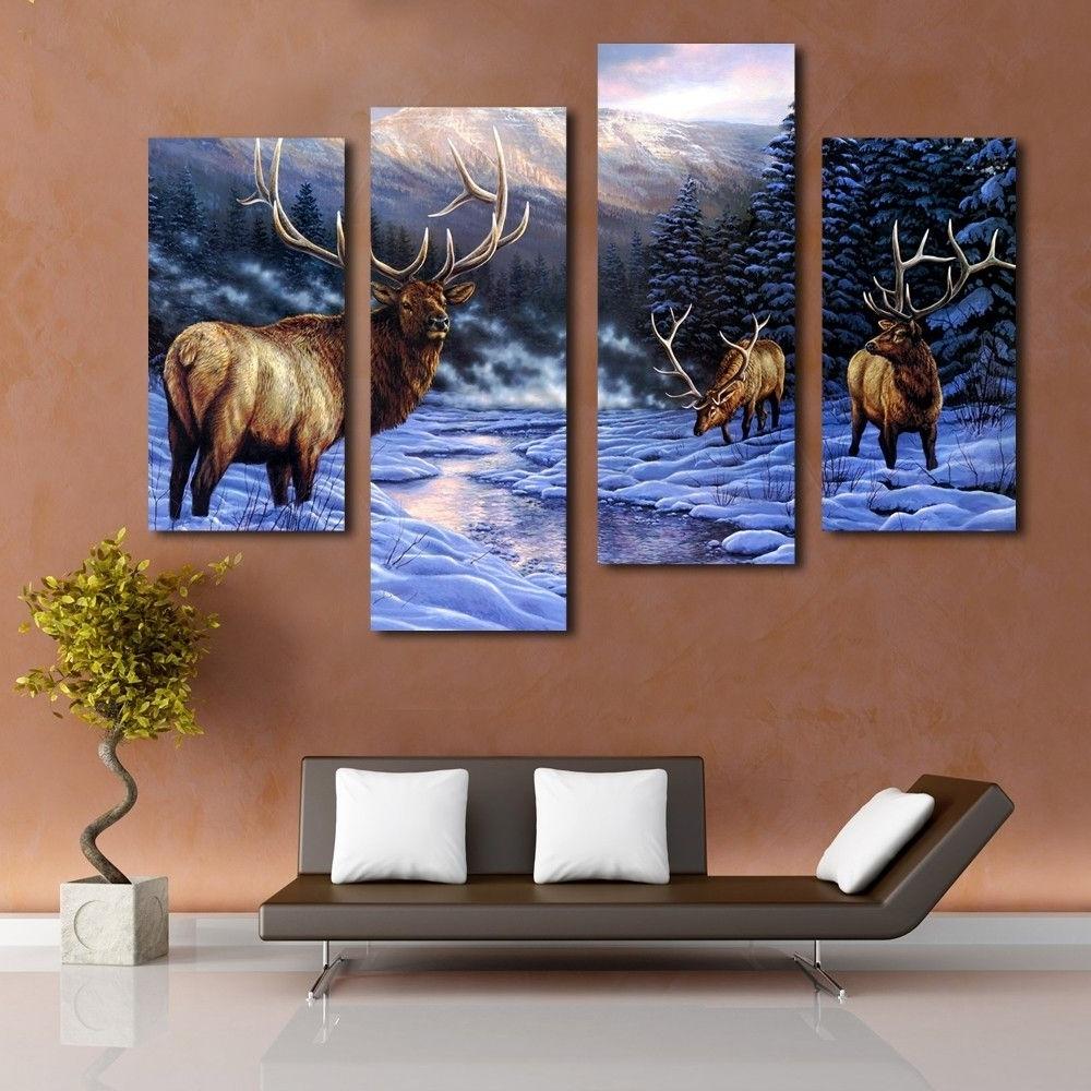 Deer In The Snow Animal Modern Wall Art Canvas Prints, View Deer In Widely Used Deer Canvas Wall Art (View 6 of 15)