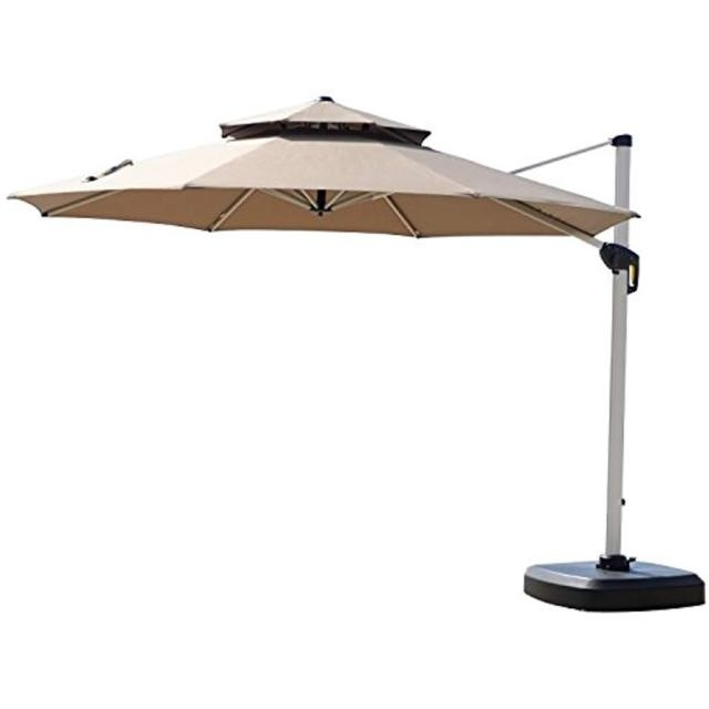 Deluxe Patio Umbrellas Pertaining To Current Purple Leaf 11 Feet Double Top Deluxe Patio Umbrella Offset Hanging (View 10 of 15)