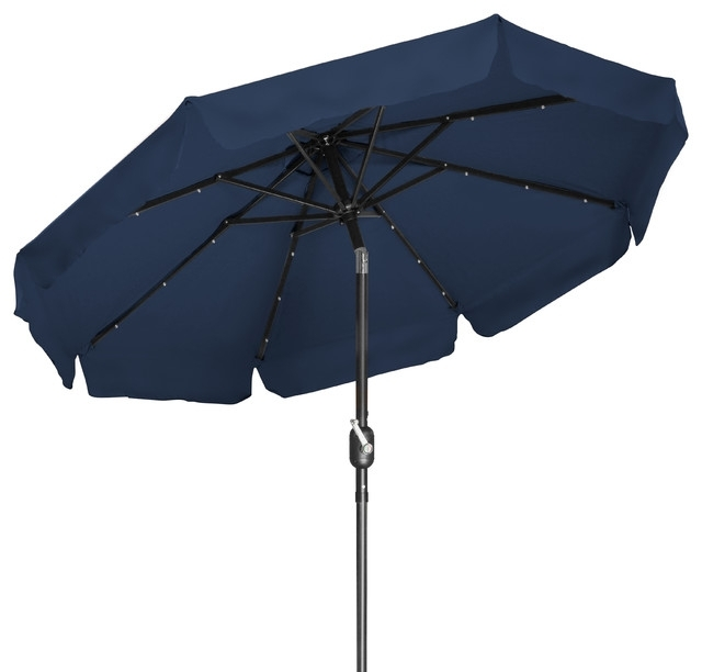 Deluxe Solar Powered Led Lighted Patio Umbrella, 7' With Scalloped Pertaining To Fashionable Lighted Patio Umbrellas (View 9 of 15)