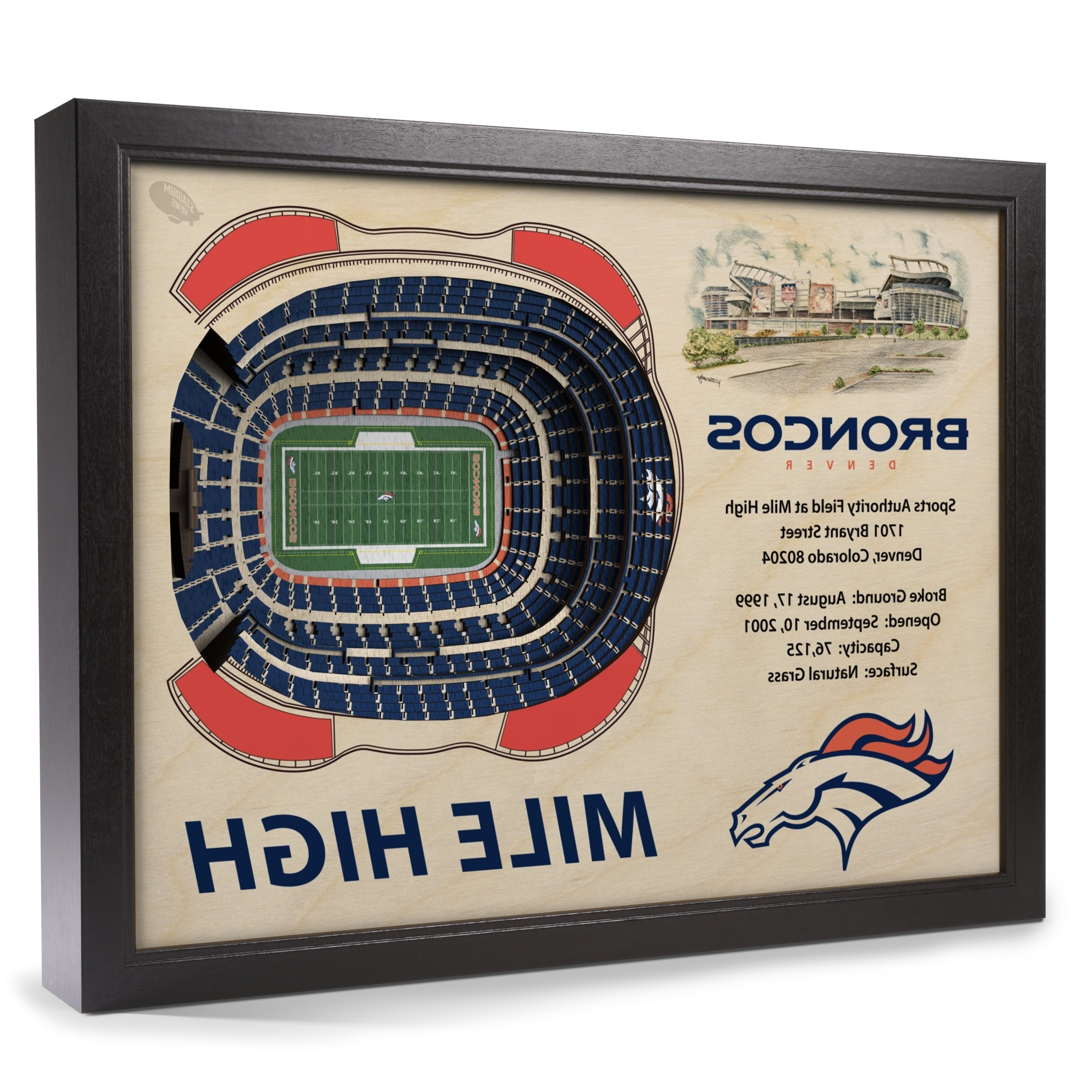 Denver Broncos Stadiumview Wall Art – Sports Authority Field At Mile Regarding Latest Broncos Wall Art (View 15 of 15)