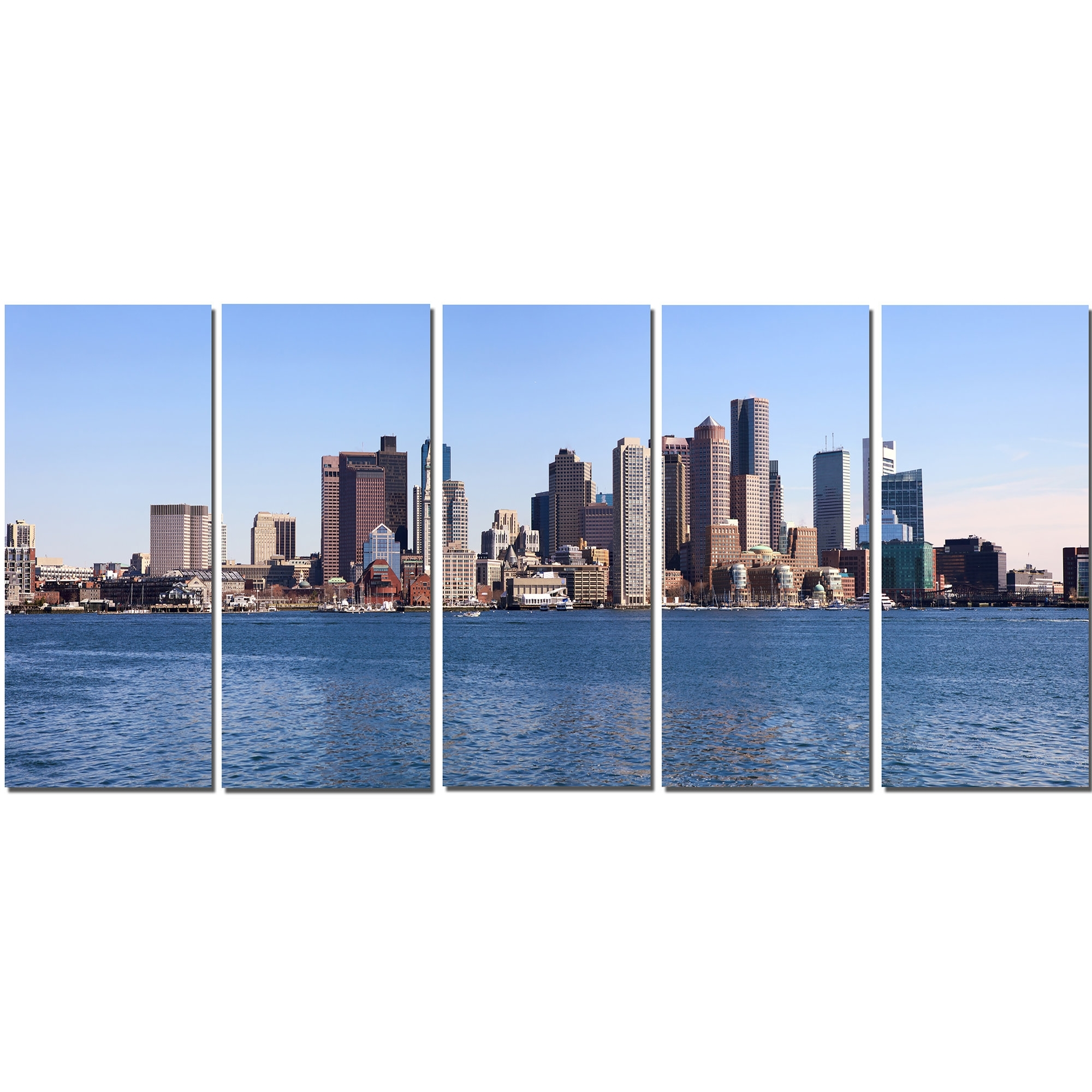 Designart Boston Skyline Panorama 5 Piece Wall Art On Wrapped Canvas With Preferred Boston Wall Art (View 11 of 15)