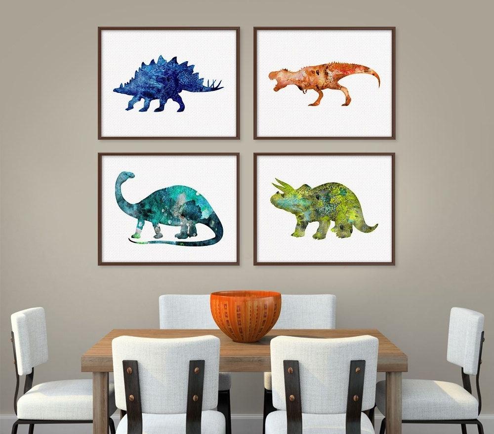 Dinosaur Art Print, Set Of 4 Prints, Dinosaur Poster, Dinosaur Wall Intended For Popular Dinosaur Wall Art (View 9 of 15)