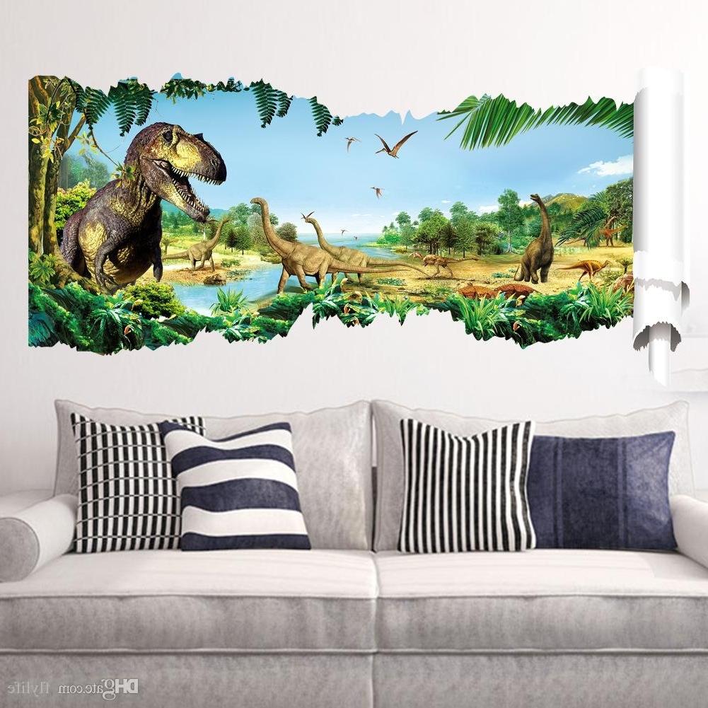 Dinosaur Wall Art Inside Trendy Cartoon 3D Dinosaur Wall Sticker For Boys Room Child Art Decor (View 5 of 15)