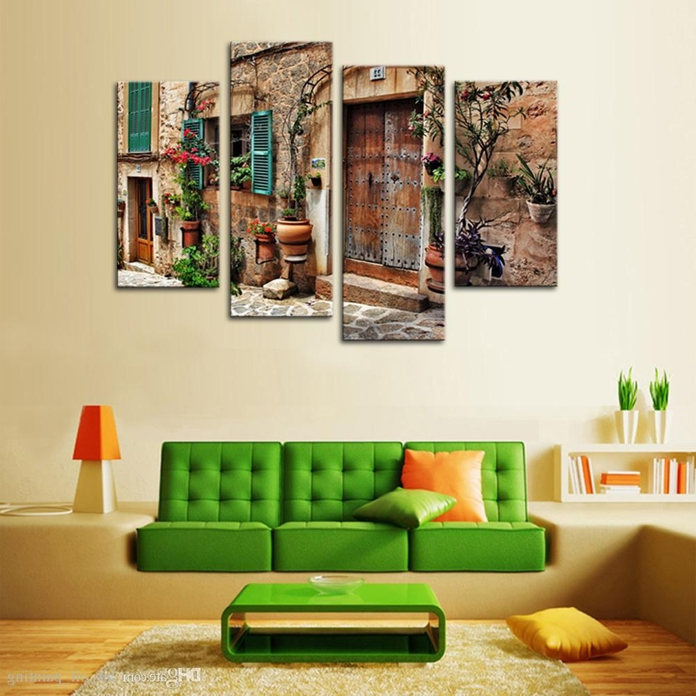 Discount 4 Panels Wall Art Spanish Old Town Street Canvas Painting In Recent Discount Wall Art (View 2 of 15)
