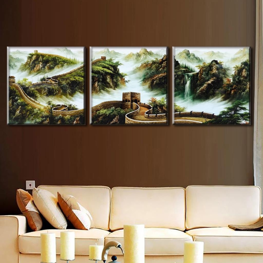 Discount Wall Art With Regard To Famous Discount Framed Painting 3 Pcs/set Traditional Chinese Landscape (View 9 of 15)
