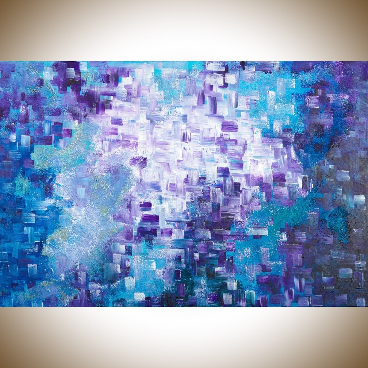 """Dissolvingqiqigallery 36""""x24"""" Stretched Canvas Original Large Inside Trendy Purple Wall Art Canvas (View 15 of 15)"""