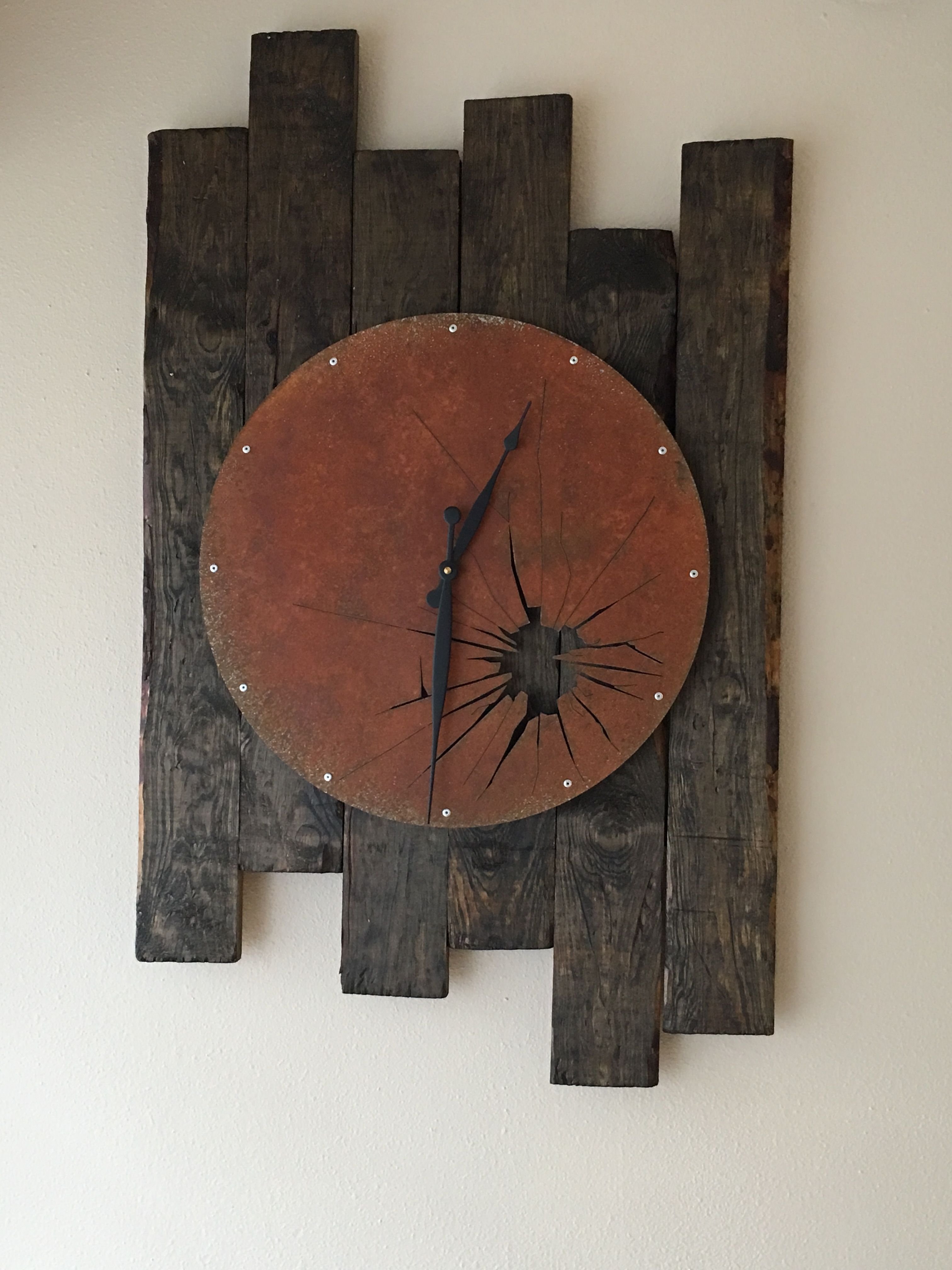 Distressed Wood Plank Wall Art With Clock (View 7 of 15)