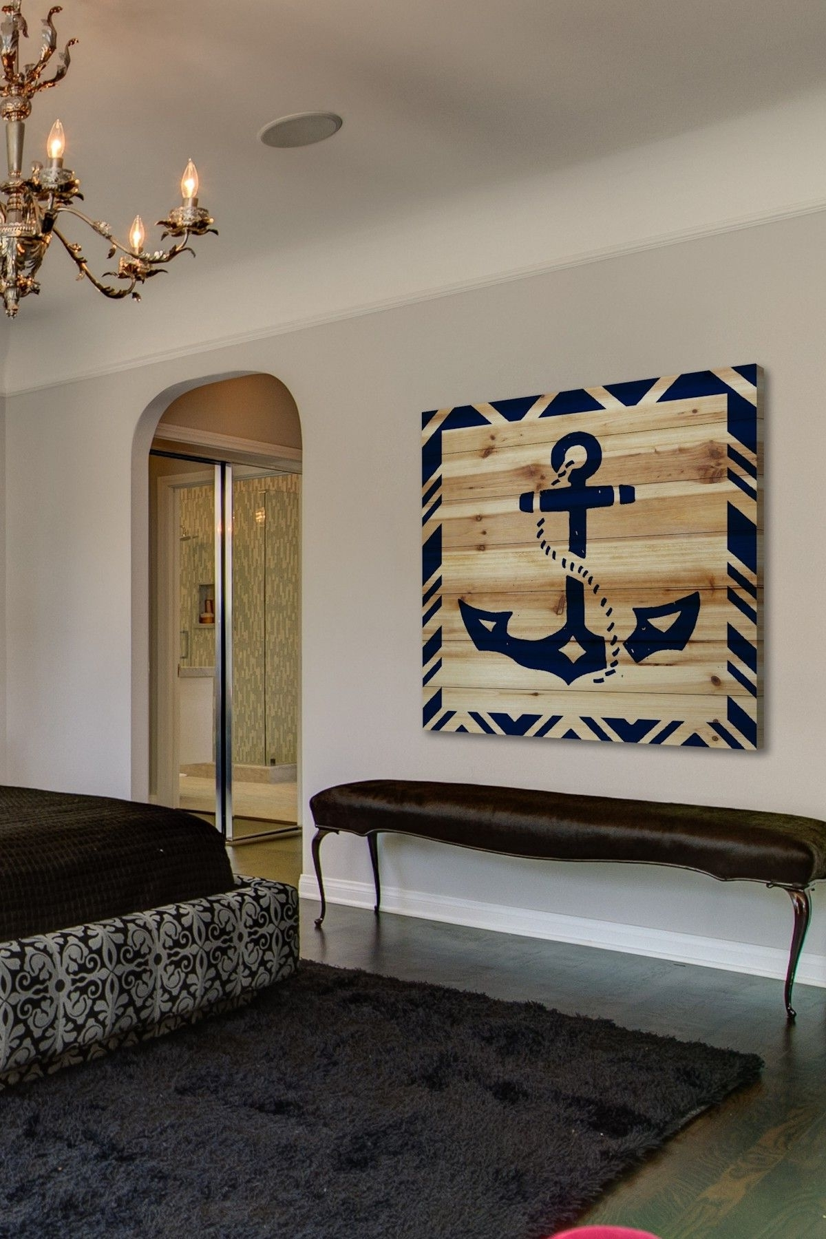 Diy Idea For A Large Nautical Wall Decor Piece. Anchor Painted On throughout 2018 Nautical Wall Art