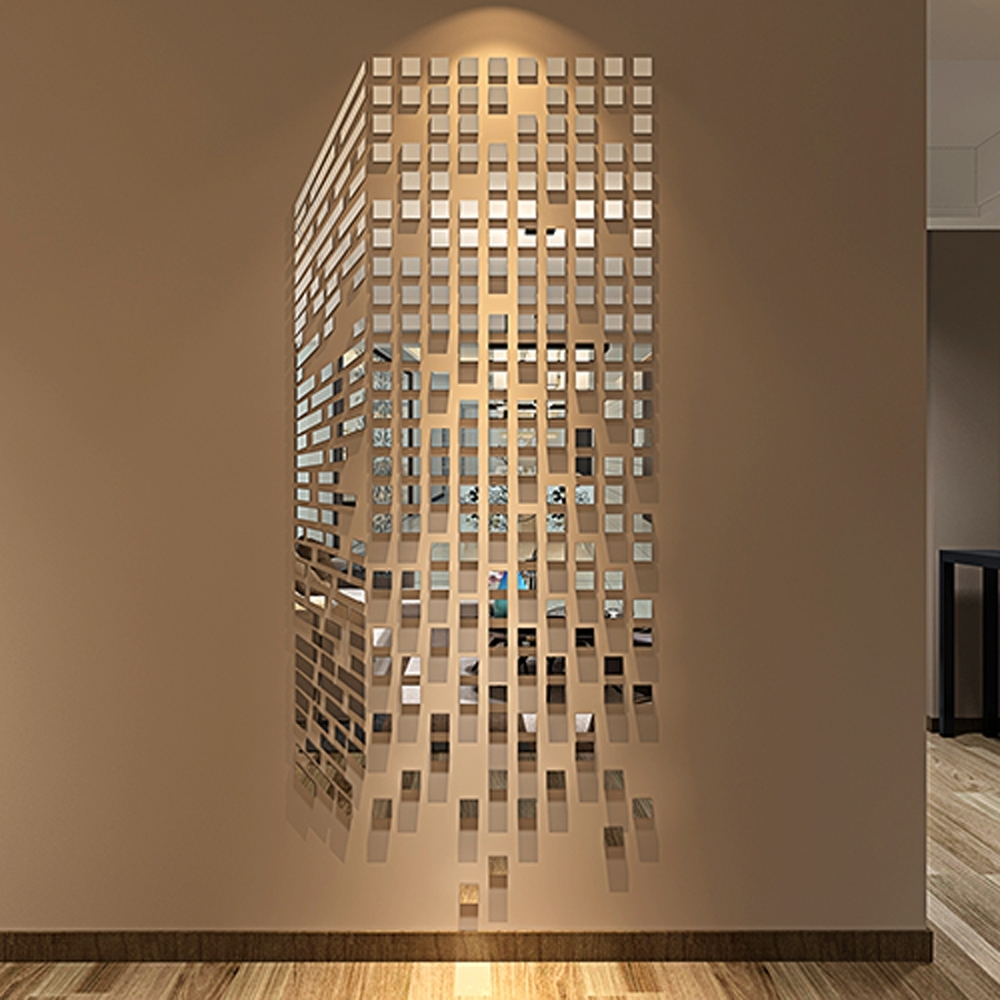 Diy Mosaic Little Squares 3D Acrylic Mirror Wall Sticker Living Room Throughout Latest Mirror Mosaic Wall Art (View 7 of 15)