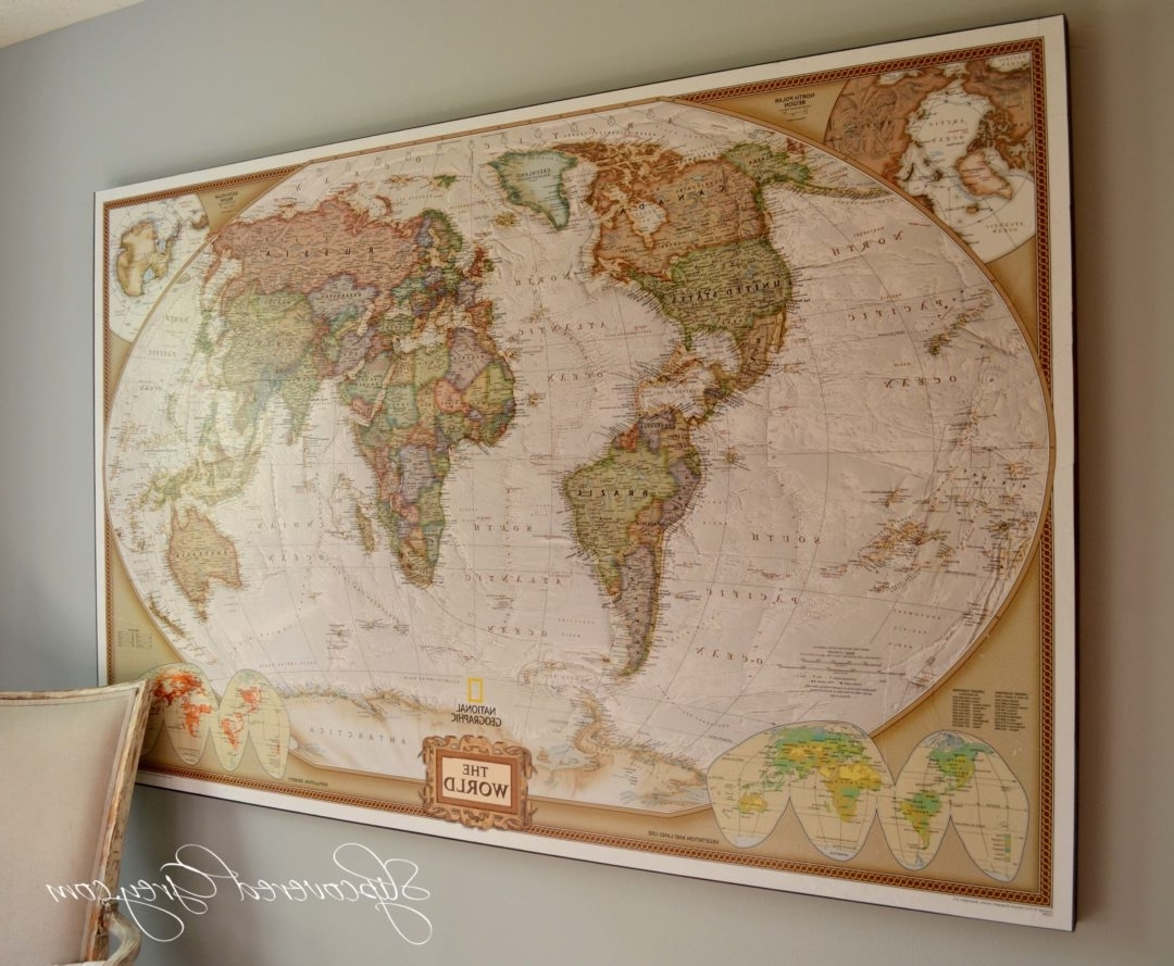 Diy World Map Wall Art Intended For 2018 World Map Wall Art – Slipcovered Grey (View 3 of 15)
