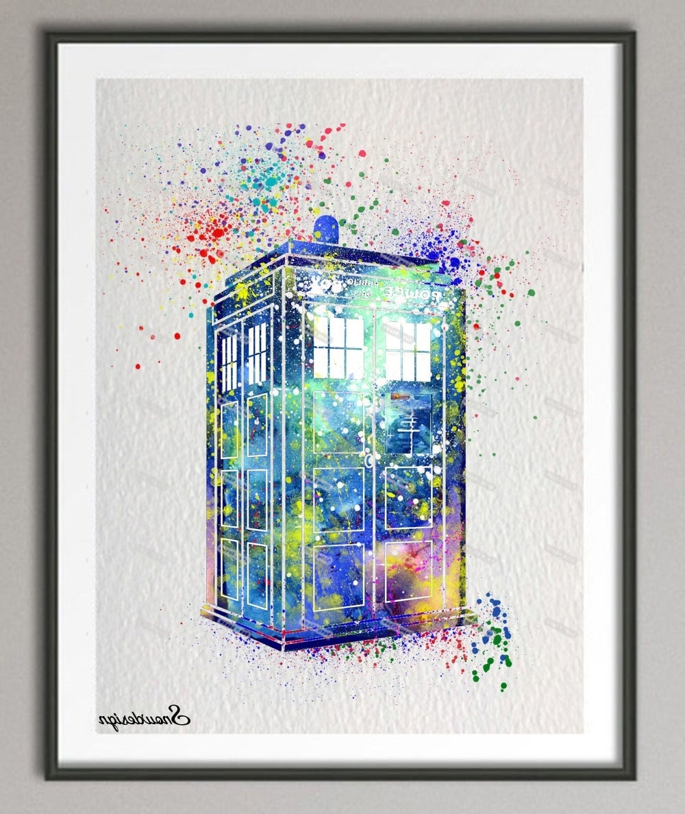 Doctor Who Wall Art Inside Most Recent Diy Original Watercolor Doctor Who Tardis Wall Art Canvas Painting (View 7 of 15)