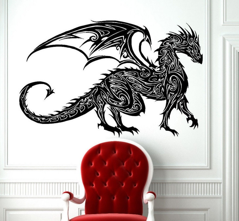 Dragon Wall Art Pertaining To Preferred Tribal Tattoo Classic Chinese Dragon Wall Decal Sticker Decor Wall (View 4 of 15)