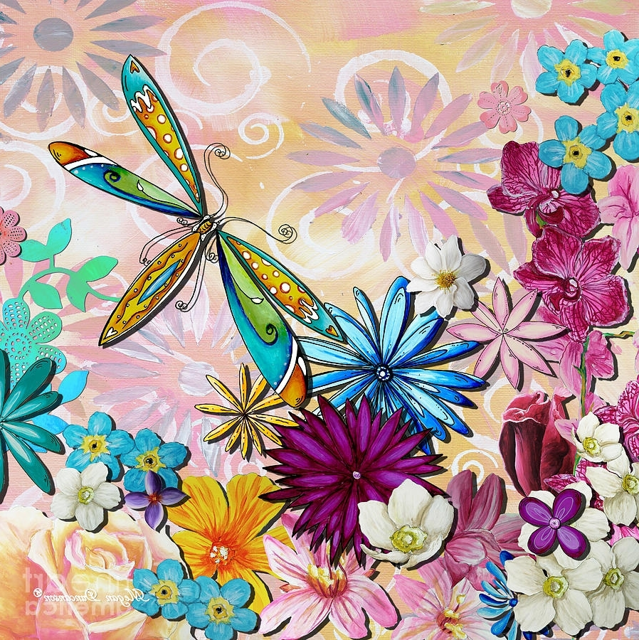 Dragonfly Painting Wall Art Regarding Most Up To Date Whimsical Floral Flowers Dragonfly Art Colorful Uplifting Painting (View 5 of 15)
