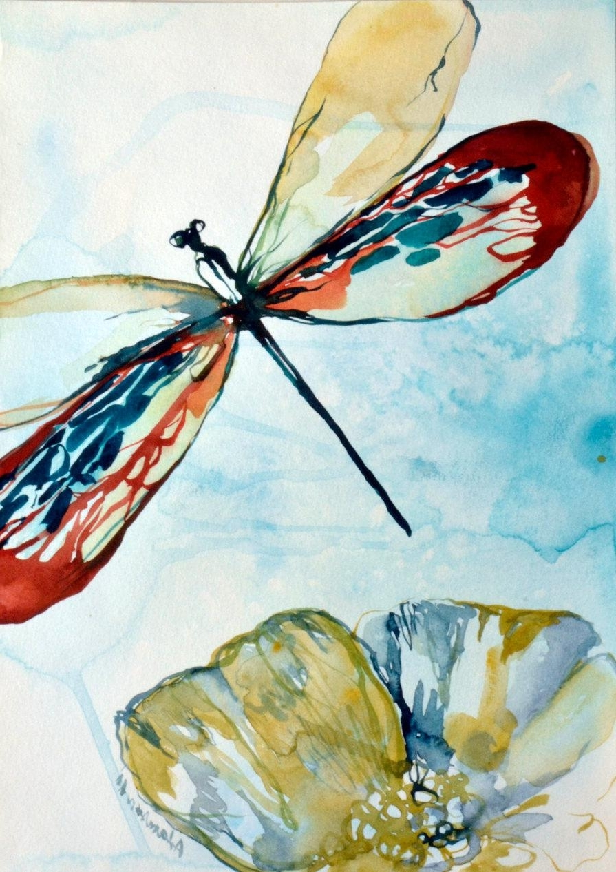 Dragonfly Watercolor Original Painting (View 7 of 15)