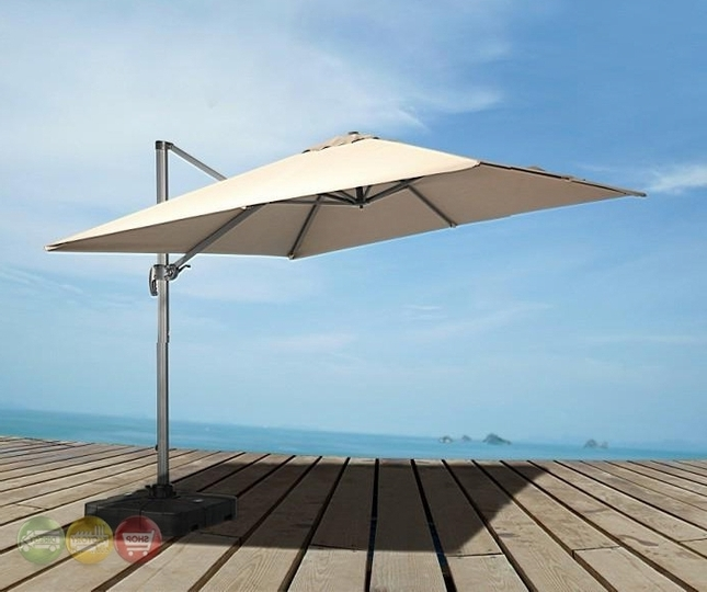 Eclipse Modern Patio Umbrella With Adjustable Base And Offset (Gallery 3 of 15)