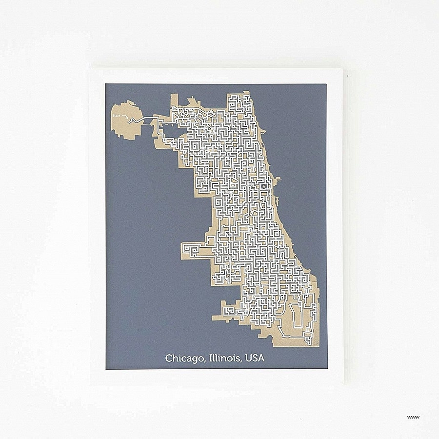 Elegant Chicago Map Wall Art (View 14 of 15)