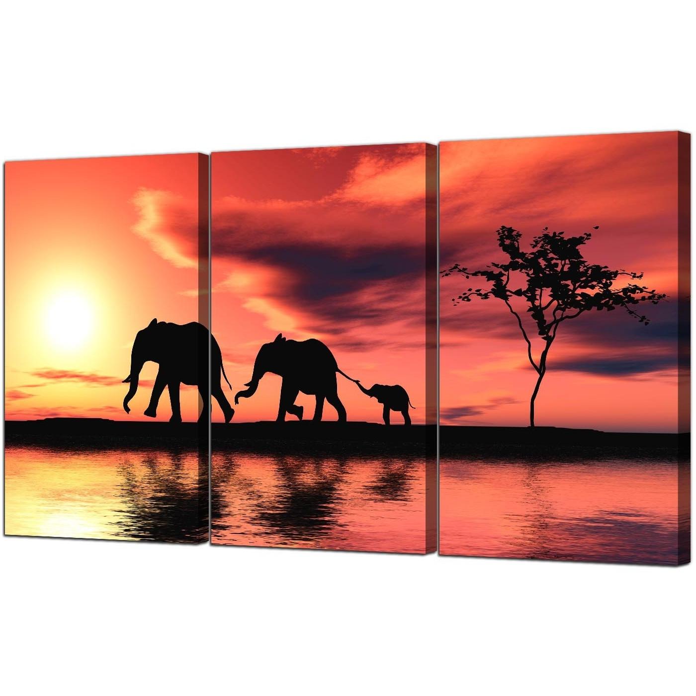 Elephant Canvas Wall Art regarding Popular Elephants Canvas Prints Set Of 3 For Your Living Room