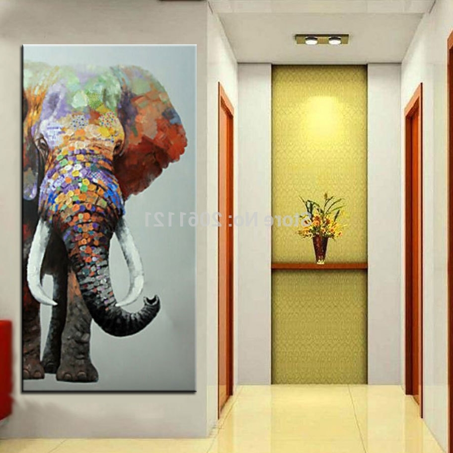 Elephant Wall Art With Regard To Most Up To Date Hand Painted Large Big Elephant Wall Art Abstract Textured Vertical (View 7 of 15)
