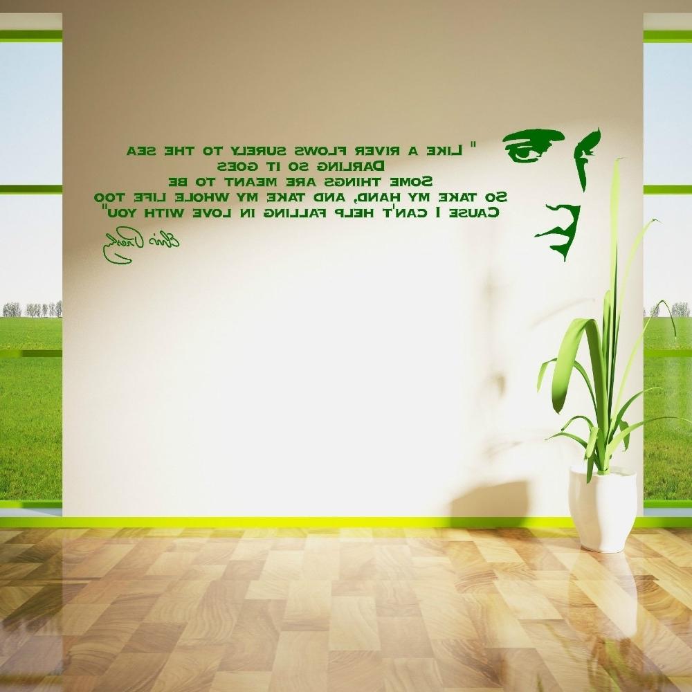 Elvis Presley Song Lyrics Like A River Vinyl Wall Art Sticker Room Inside 2017 Song Lyric Wall Art (View 9 of 15)