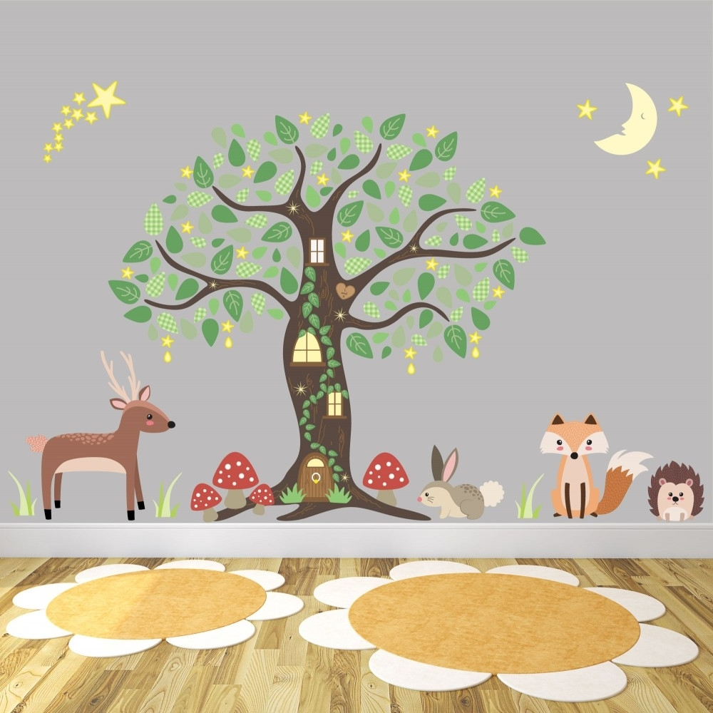 Enchanted Woodland Wall Art Stickers With Most Current Woodland Nursery Wall Art (View 11 of 15)