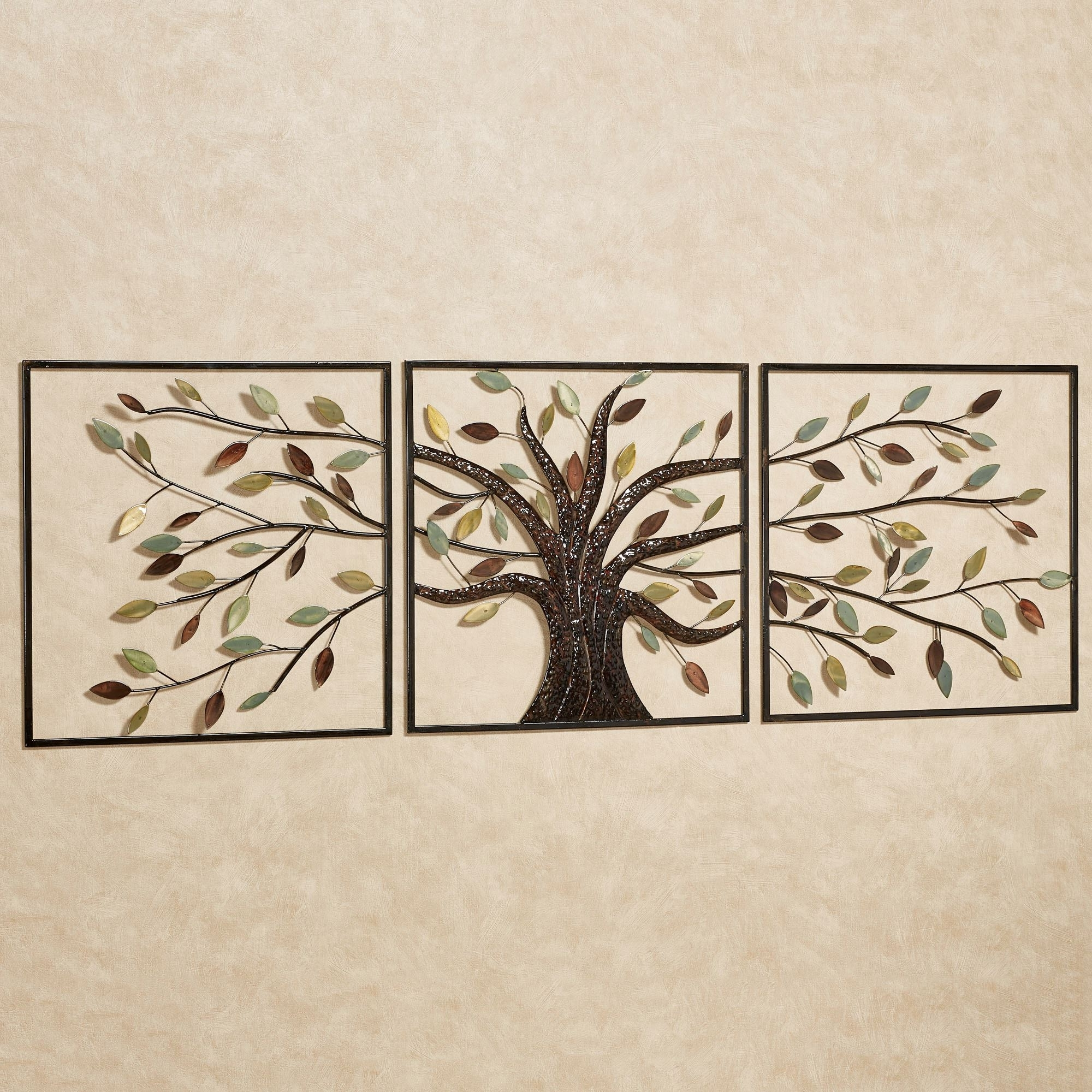 Ever Changing Brown Tree Metal Wall Art Set pertaining to Most Recent Metal Wall Art