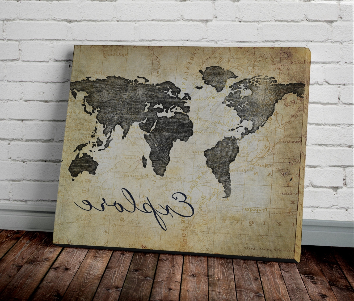 Explore World Map Wall Art Canvas World Map Print In Brown New With Regard To 2018 Map Wall Art (View 10 of 15)