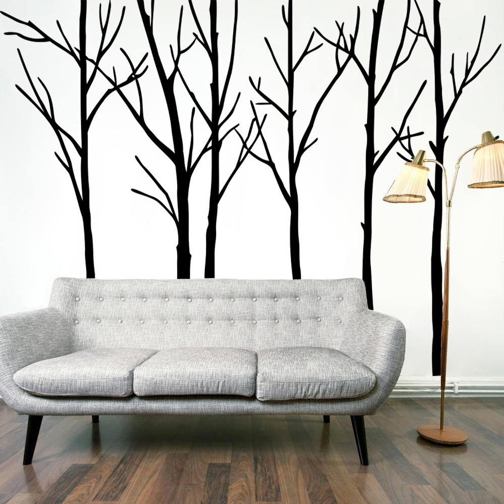 Extra Large Black Tree Branches Wall Art Mural Decor Sticker With Preferred Tree Wall Art (Gallery 9 of 15)