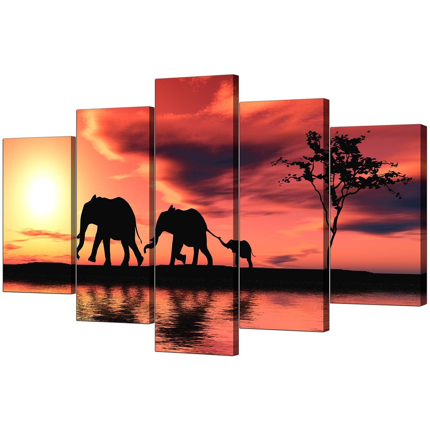 Extra Large Elephants Canvas Prints 5 Piece In Orange In Trendy Elephant Canvas Wall Art (View 9 of 15)