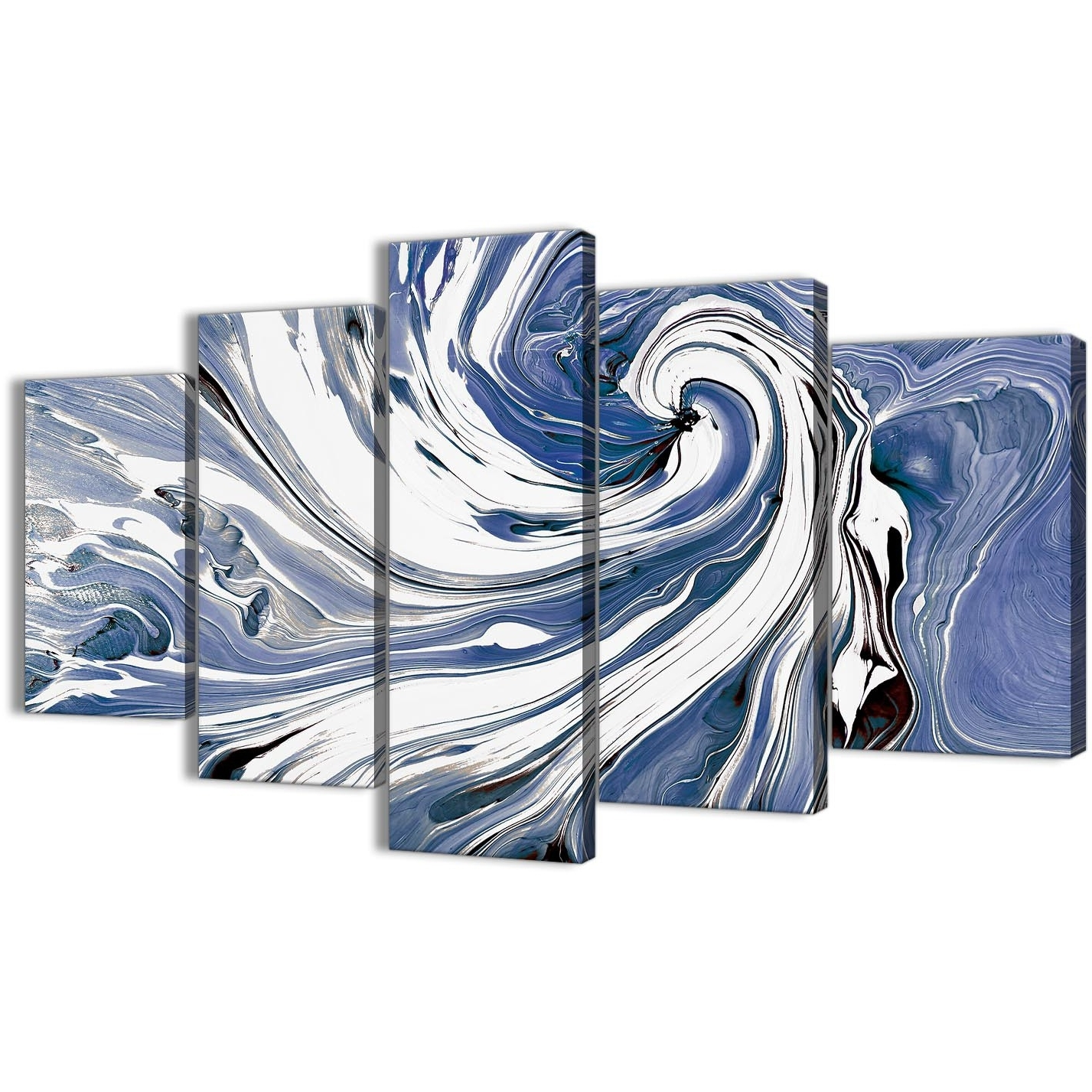Extra Large Indigo Blue White Swirls Modern Abstract Canvas Wall Art In Most Up To Date Abstract Oversized Canvas Wall Art (View 9 of 15)