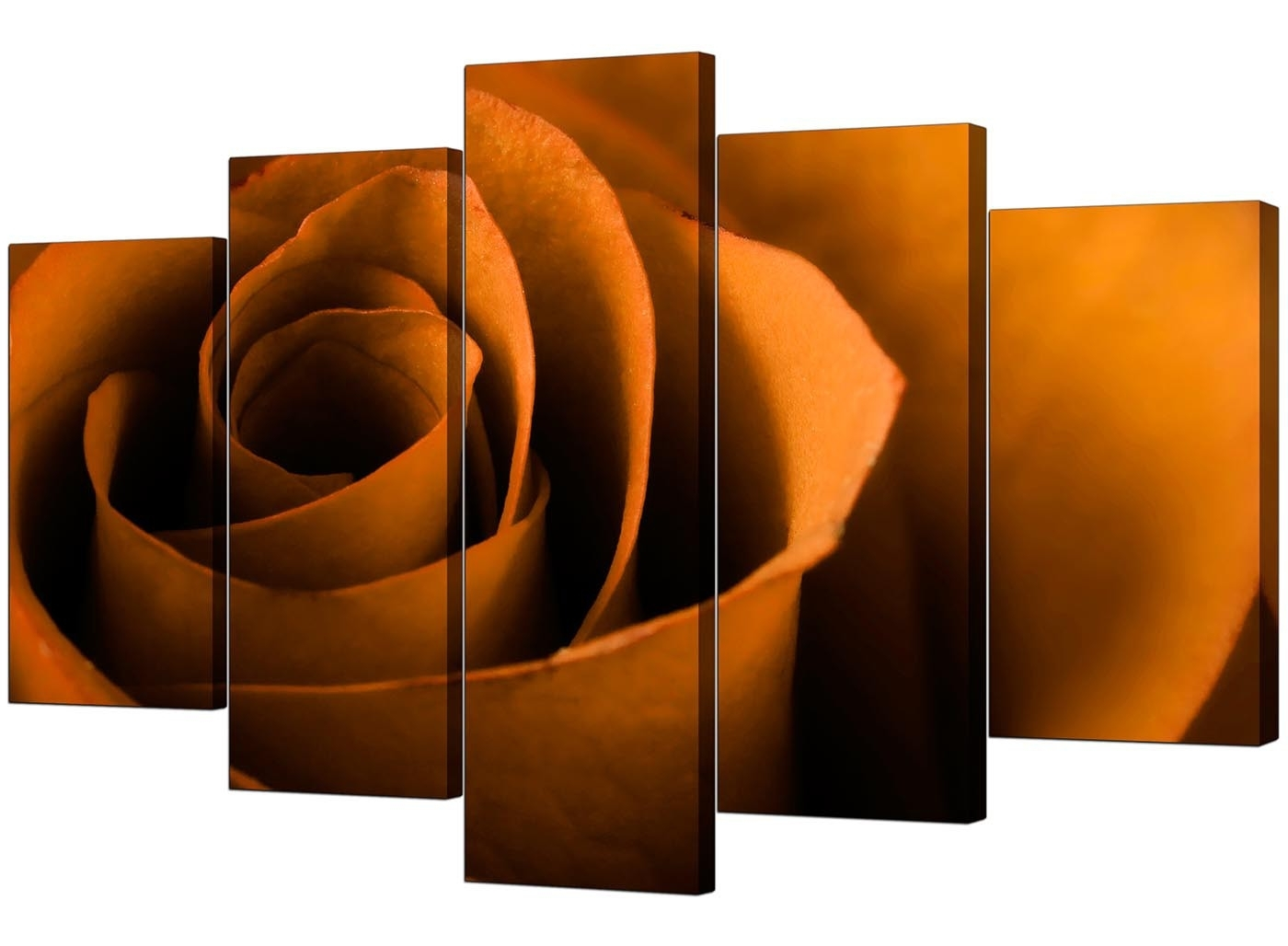 Extra Large Rose Canvas Wall Art 5 Panel In Orange Pertaining To Preferred Orange Wall Art (View 3 of 15)