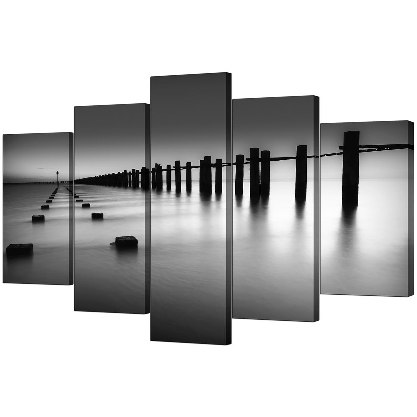 Extra Large Sea Canvas Prints 5 Piece In Black & White Throughout Most Popular Black And White Canvas Wall Art (View 15 of 15)