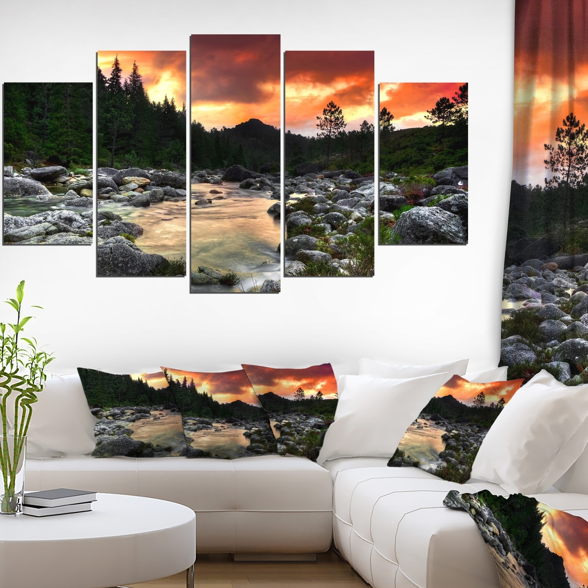 Extra Large Wall Art For Well Known Shop Rocky Mountain River At Sunset – Extra Large Wall Art Landscape (View 12 of 15)