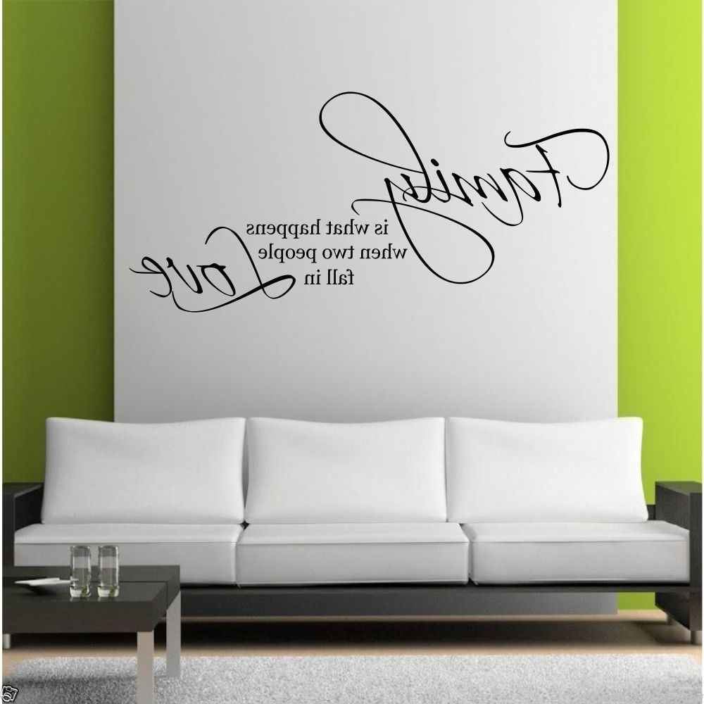 Family Love Wall Art Sticker Quote Living Room Decal Mural Stencil Intended For Famous Living Room Wall Art (View 3 of 15)