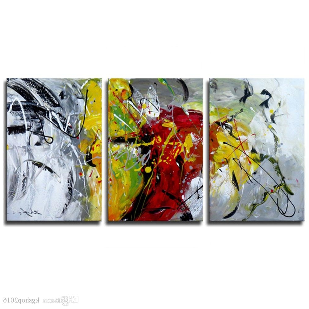 Famous 2018 3 Panels Abstract Oil Paintings Modern Artwork On Canvas With Abstract Oil Painting Wall Art (View 9 of 15)