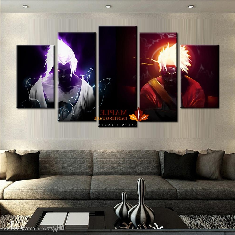 Famous 2018 Wholesale 5 Panels Canvas Printings Naruto Vs Sasuke Home Decor Pertaining To Cheap Wall Art (View 9 of 15)