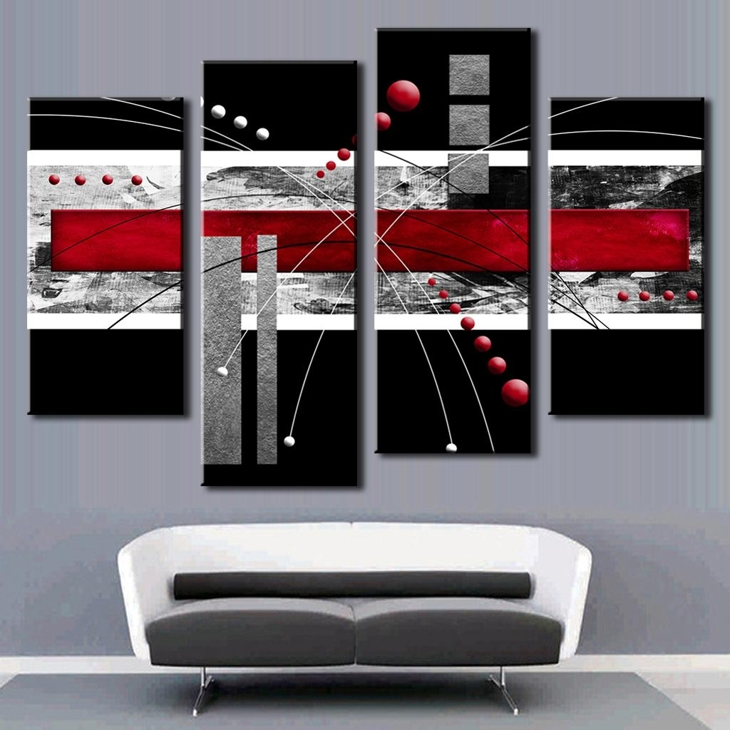Famous 4 Pcs/set Abstract Wall Art Painting Modern Black Background Pertaining To Red And Black Canvas Wall Art (View 4 of 15)