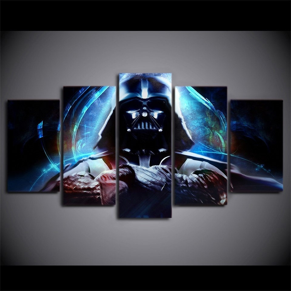 Famous 5 Panels Canvas Prints Hot Moives Darth Vader Wall Art Home Decor 5 For Darth Vader Wall Art (View 13 of 15)
