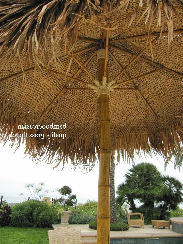 Famous 9'ft Asian Thatch Umbrella(Solid Bamboo Frame) Palapa Set 14('ft Intended For Exotic Patio Umbrellas (View 2 of 15)
