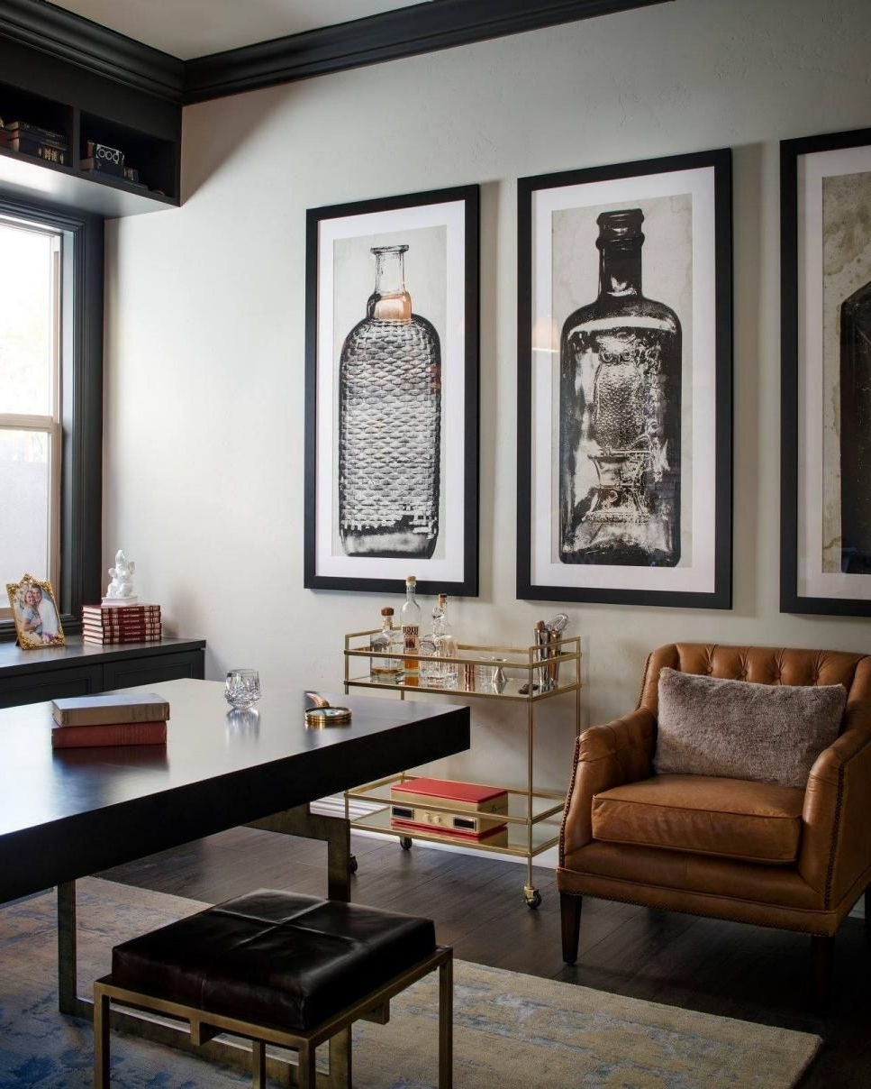 Famous A Glass And Gold Bar Cart Brown Leather Armchair And Oversized Within Manly Wall Art (View 3 of 15)