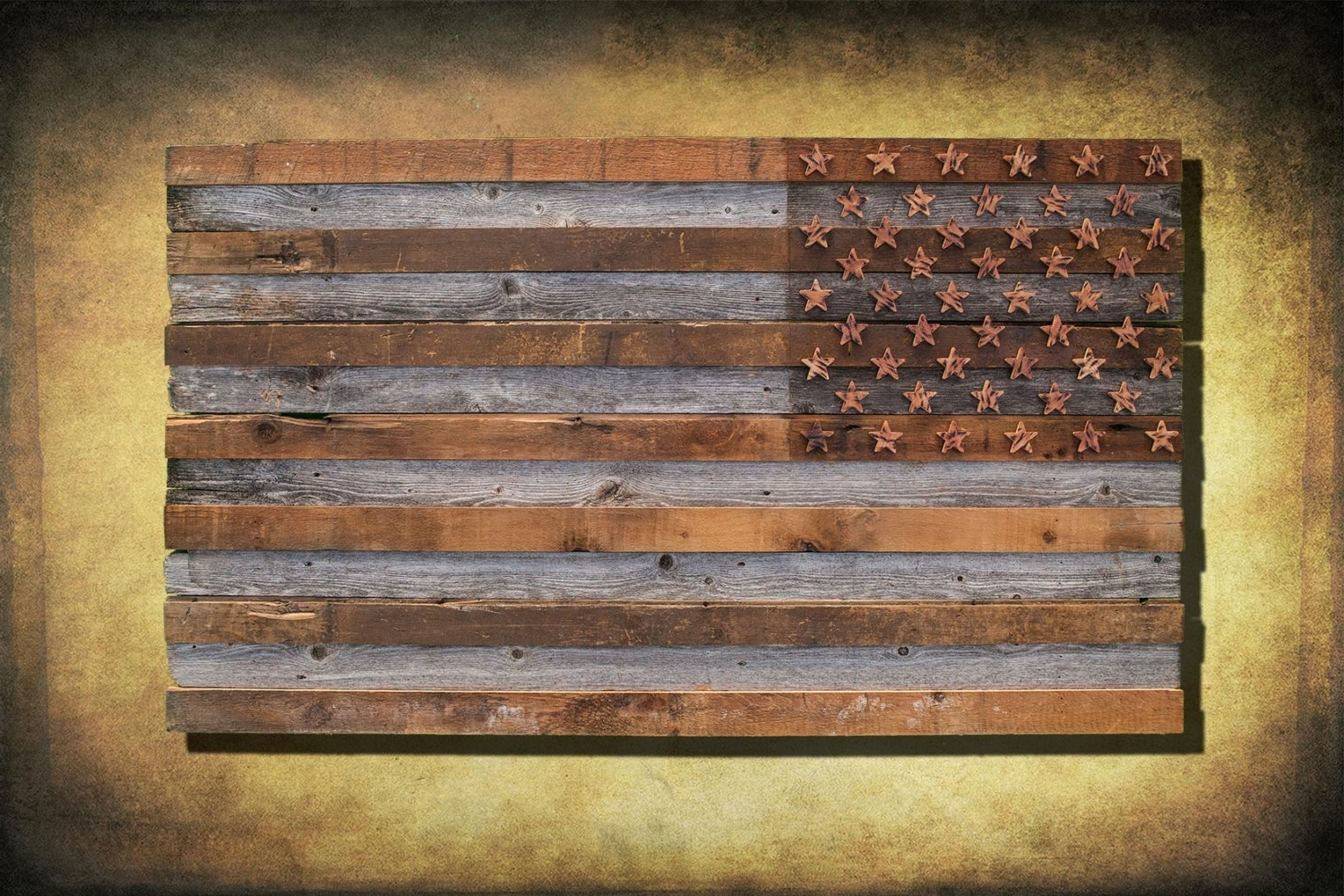 Famous Barnwood American Flag, 100 Year Old Wood, One Of A Kind, 3D, Wooden Pertaining To Vintage American Flag Wall Art (View 3 of 15)