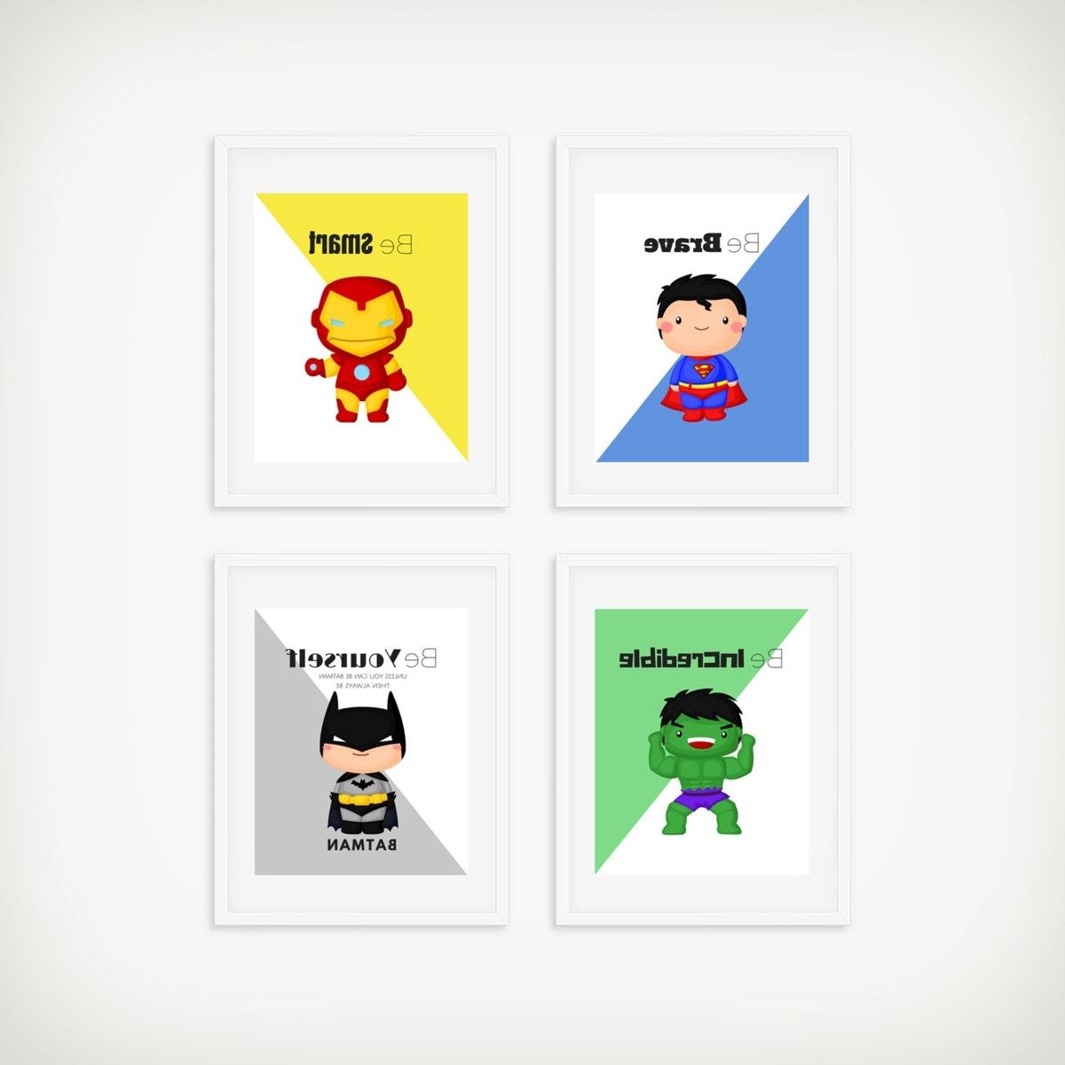 Famous Batman Wall Art Inside Superhero Print Set Superhero Wall Art Boys Room Decor (View 13 of 15)