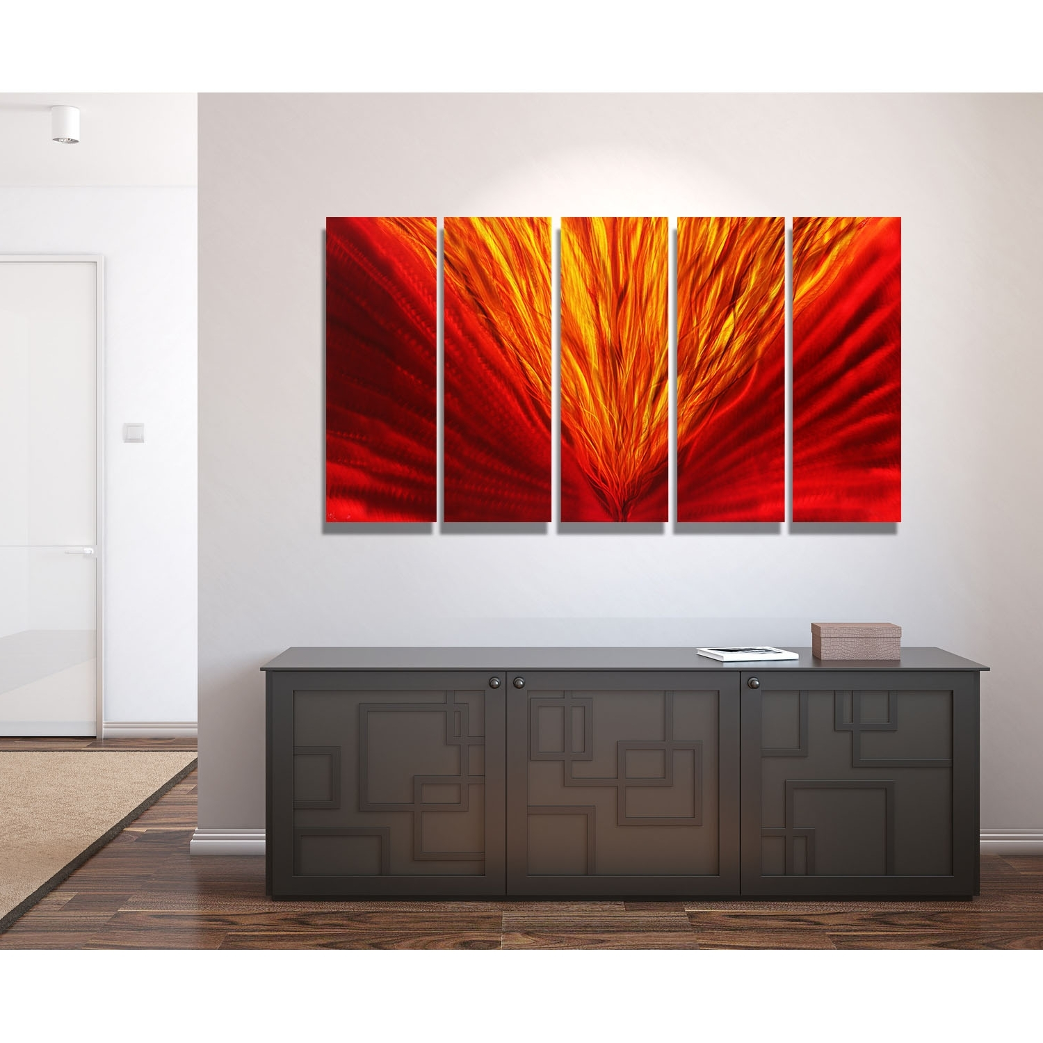 Famous Blaze – Red And Gold Metal Wall Art – 5 Panel Wall Decorjon Within 5 Panel Wall Art (View 10 of 15)
