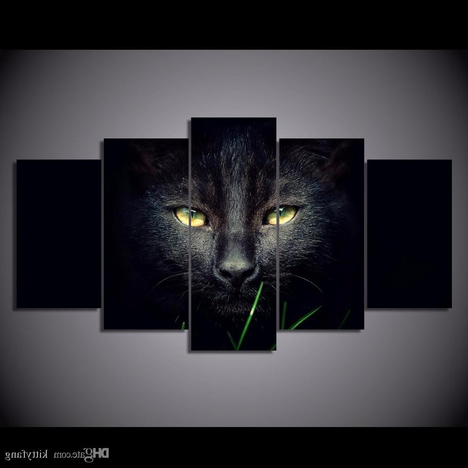 Famous Cat Canvas Wall Art Within Online Cheap Framed Hd Printed Black Cat Animal Wall Art Canvas (View 4 of 15)