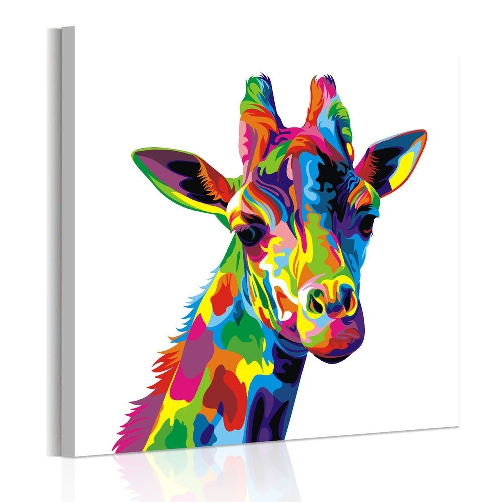 Famous Colorful Paintings Of Animals Unframed Abstract Wall Art Colored Intended For Giraffe Canvas Wall Art (View 4 of 15)
