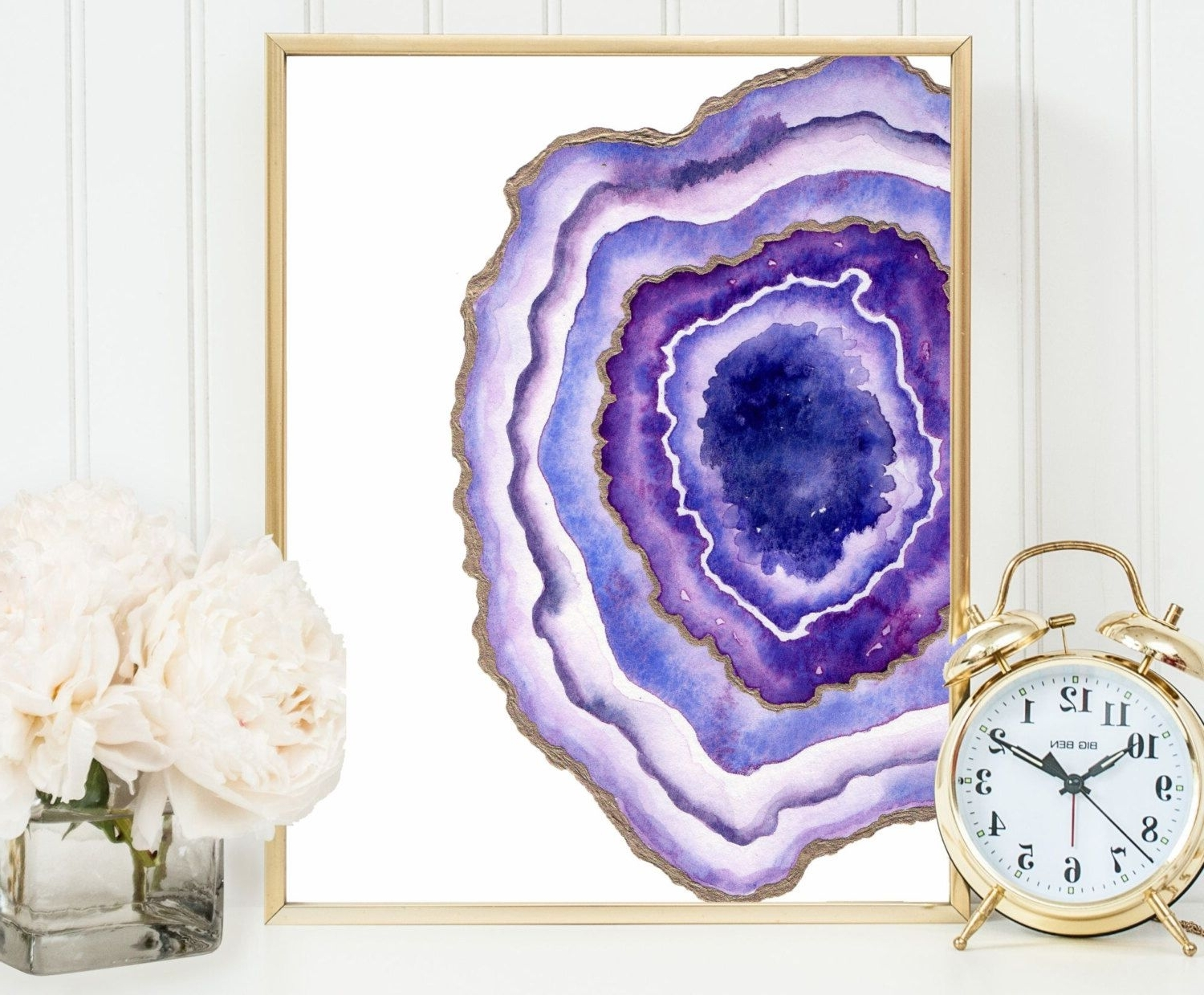 Famous Geode Agate Slice Art, Geode Print, Gemstone Wall Decor Watercolor Inside Agate Wall Art (View 12 of 15)